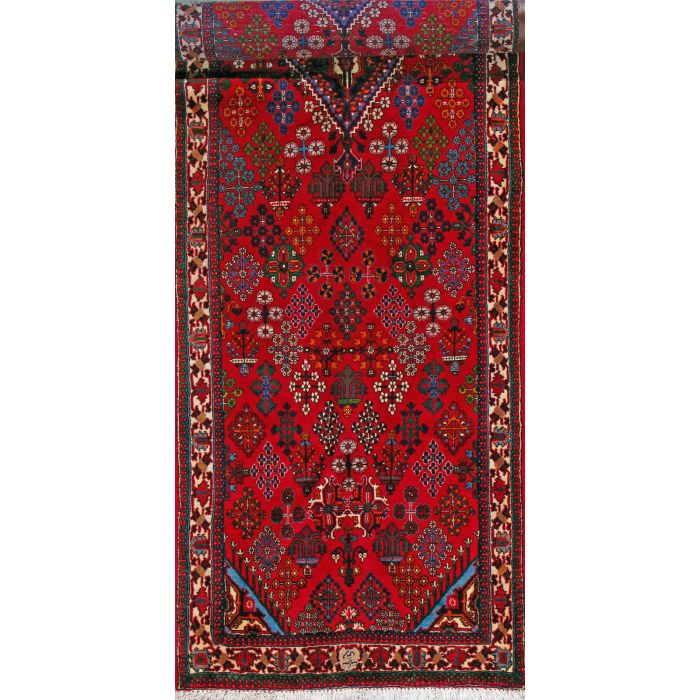 """https://www.armanrugs.com/   3' 5"""" x 13' 4"""" Red Maymeh Hand Knotted Wool Authentic Persian Rug"""