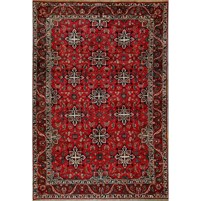 """https://www.armanrugs.com/   6' 10"""" x 10' 4"""" Red Bakhtiari Hand Knotted Wool Authentic Persian Rug"""