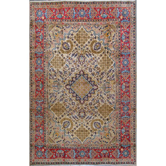 "https://www.armanrugs.com/ | 7' 9"" x 12' 2"" Beige Esfahan Hand Knotted Wool Authentic Persian Rug"