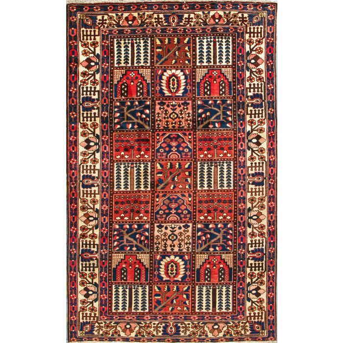 "https://www.armanrugs.com/ | 5' 1"" x 10'   Red Bakhtiari Hand Knotted Wool Authentic Persian Rug"
