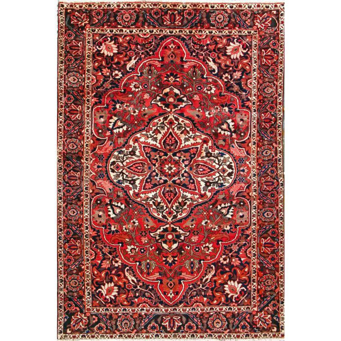 """https://www.armanrugs.com/   6' 11"""" x 10' 3"""" Red Bakhtiari Hand Knotted Wool Authentic Persian Rug"""