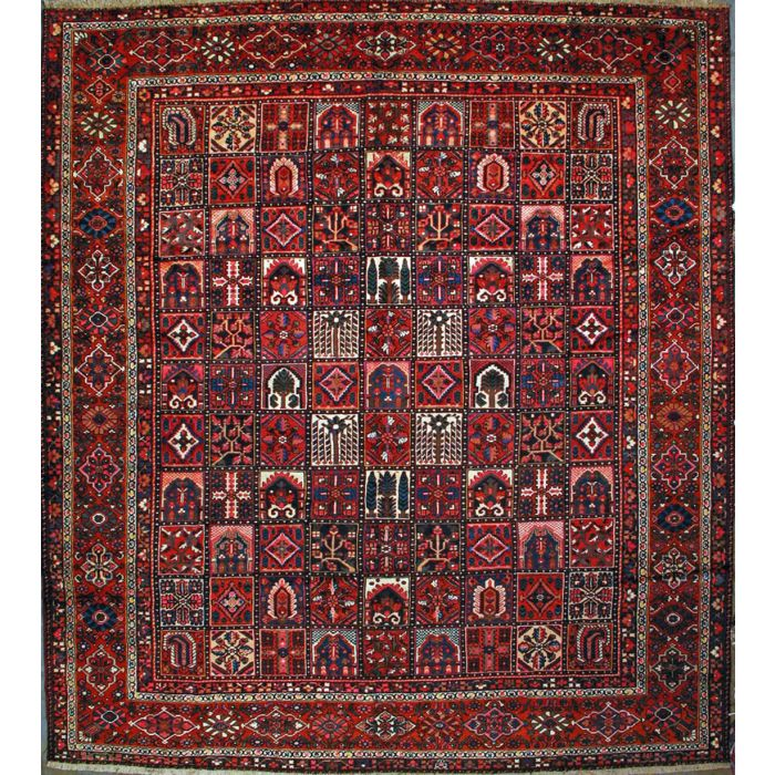 "https://www.armanrugs.com/ | 12' 8"" x 13' 6"" Burgundy Bakhtiari Hand Knotted Wool Authentic Persian Rug"