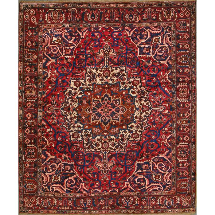 "https://www.armanrugs.com/ | 10' 3"" x 11' 11"" Red Bakhtiari Hand Knotted Wool Authentic Persian Rug"
