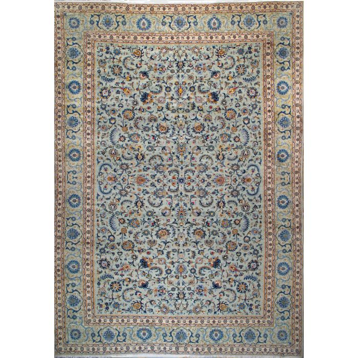 "https://www.armanrugs.com/ | 11' 6"" x 16' 10"" Green Kashan Hand Knotted Wool Authentic Persian Rug"