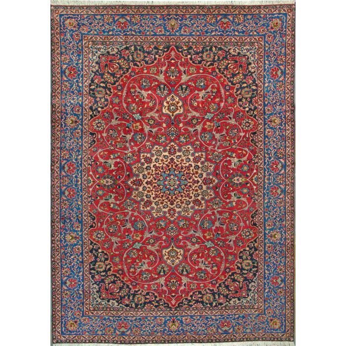 """https://www.armanrugs.com/   8' 9"""" x 12' 6"""" Red Esfahan Hand Knotted Wool Authentic Persian Rug"""