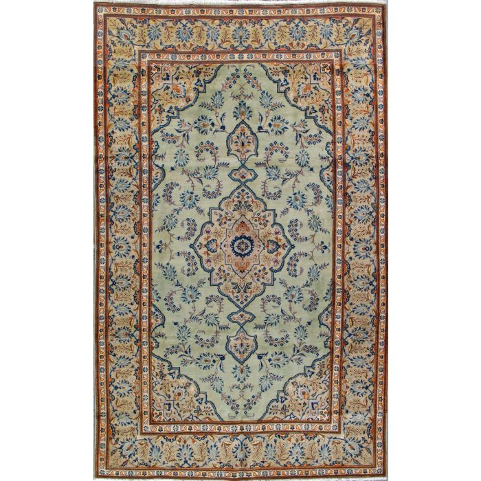 """https://www.armanrugs.com/   6' 7"""" x 10' 8"""" Green Esfahan Hand Knotted Wool Authentic Persian Rug"""