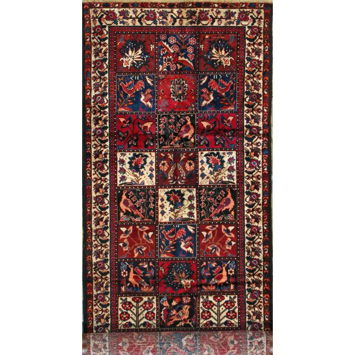 "https://www.armanrugs.com/ | 3' 9"" x 12' 4"" Red Bakhtiari Hand Knotted Wool Authentic Persian Rug"