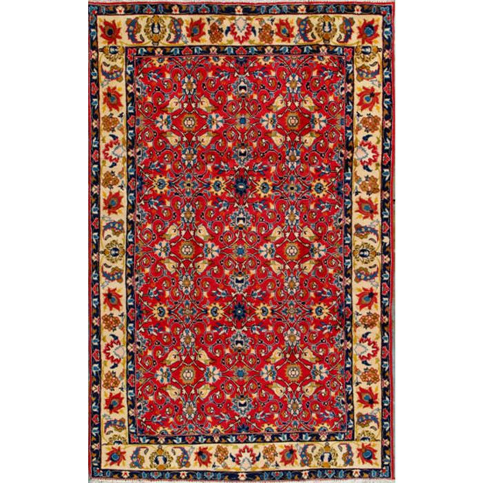 """https://www.armanrugs.com/   5' 1"""" x 10' 3"""" Red Esfahan Hand Knotted Wool Authentic Persian Rug"""
