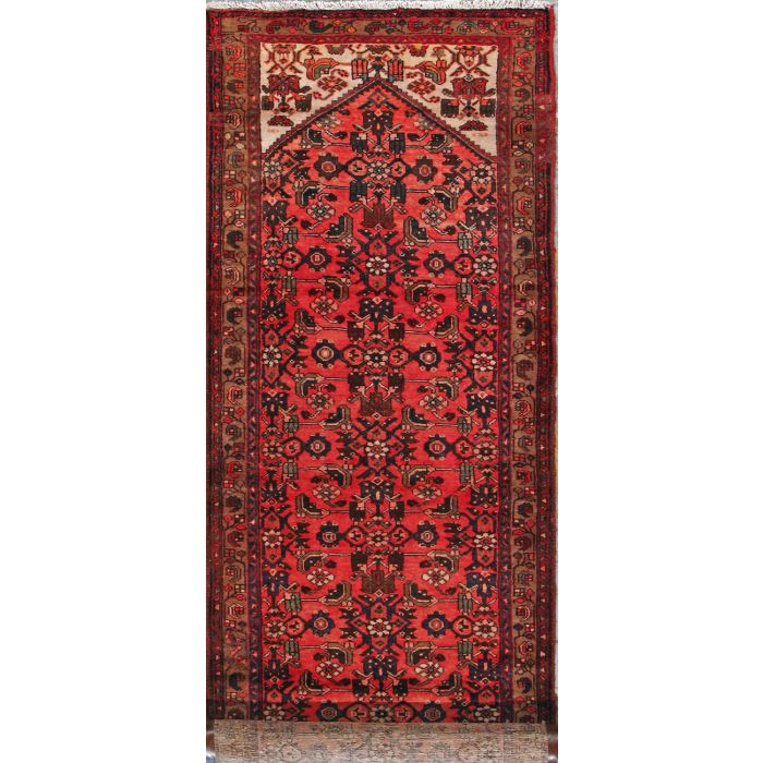 "https://www.armanrugs.com/ | 3' 6"" x 13' 2"" Red Malayer Hand Knotted Wool Authentic Persian Rug"