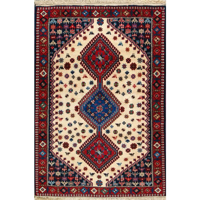 "https://www.armanrugs.com/ | 3' 4"" x 4' 11"" Beige Yalameh Hand Knotted Wool Authentic Persian Rug"