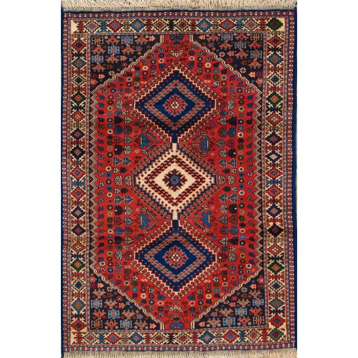 """https://www.armanrugs.com/   3' 5"""" x 4' 11"""" Red Yalameh Hand Knotted Wool Authentic Persian Rug"""