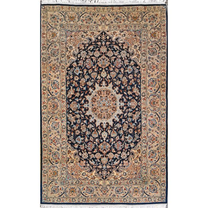 "https://www.armanrugs.com/ | 3' 6"" x 5' 9"" Navy Blue Esfahan Hand Knotted Wool & Silk Authentic Persian Rug"