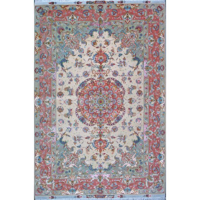 "https://www.armanrugs.com/ | 6' 7"" x 10' 0"" Beige Tabriz Hand Knotted Wool & Silk Authentic Persian Rug"