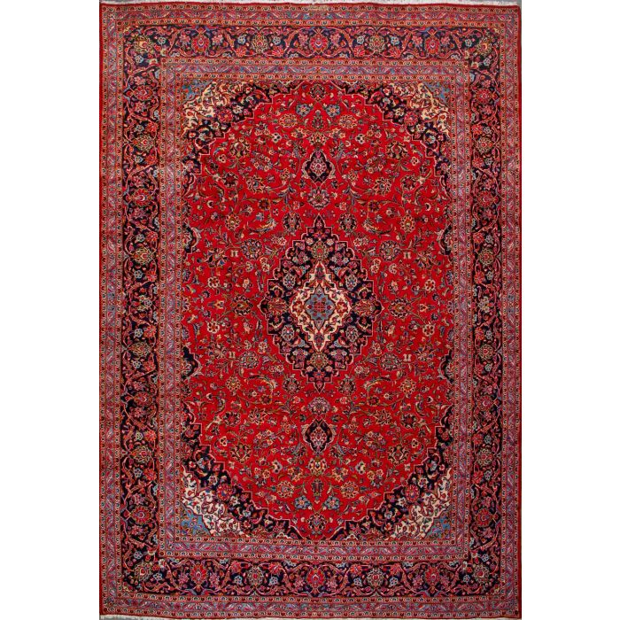 """https://www.armanrugs.com/   9' 10"""" x 14' 5"""" Red Kashan Hand Knotted Wool Authentic Persian Rug"""
