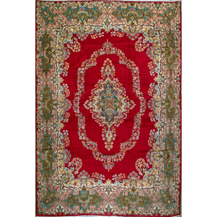 "https://www.armanrugs.com/ | 10' 3"" x 15' 3"" Red kerman Hand Knotted Wool Authentic Persian Rug"