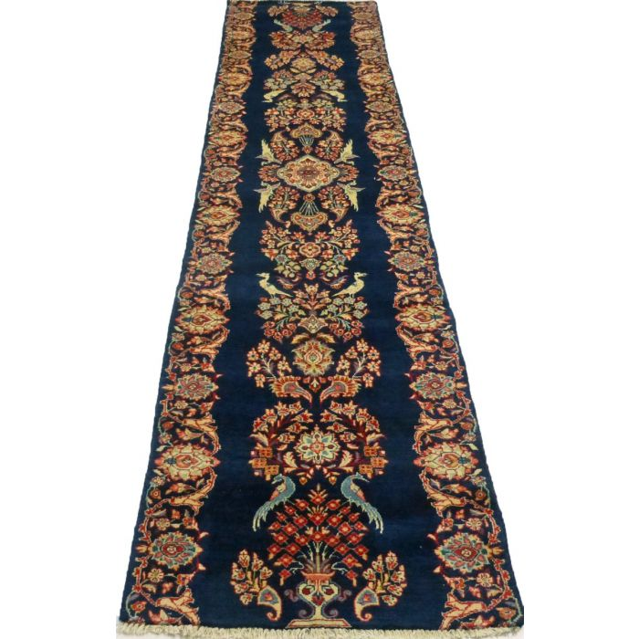 "https://www.armanrugs.com/ | 2' 8"" x 12' 8"" Navy Blue Sarough Hand Knotted Wool Authentic Persian Rug"