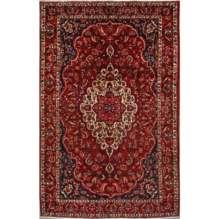 """https://www.armanrugs.com/   6' 11"""" x 10' 10"""" Red Bakhtiari Hand Knotted Wool Authentic Persian Rug"""