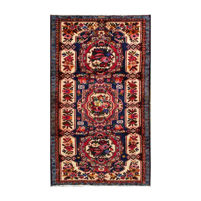 """https://www.armanrugs.com/   5' 1"""" x 9' 6"""" Blue Bakhtiari Hand Knotted Wool Authentic Persian Rug"""