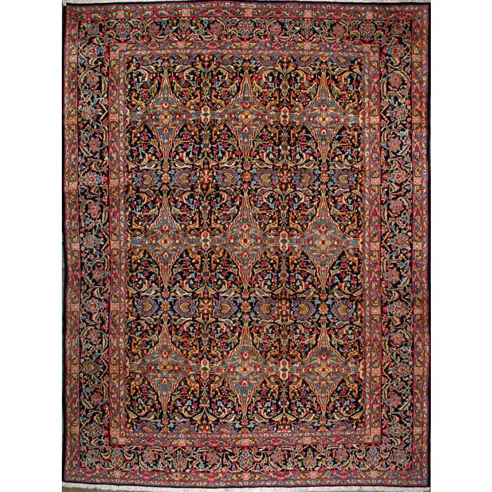 "https://www.armanrugs.com/ | 9' 10"" x 13' 1"" Navy Blue kerman Hand Knotted Wool Authentic Persian Rug"