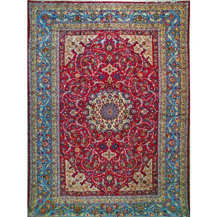 """https://www.armanrugs.com/   13' 3"""" x  19' 0"""" Red Esfahan Hand Knotted Wool Authentic Persian Rug"""