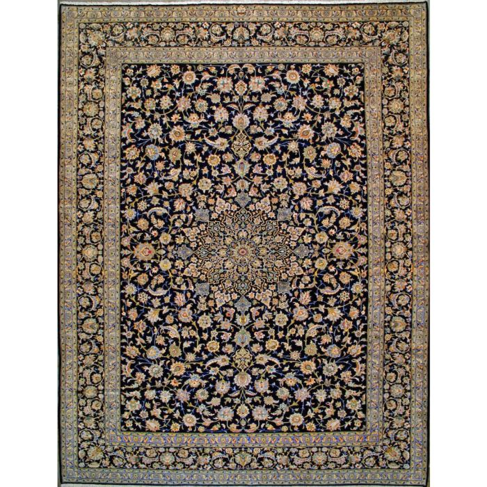"""https://www.armanrugs.com/   12' 8"""" x 16' 6"""" Blue Kashan Hand Knotted Wool Authentic Persian Rug"""
