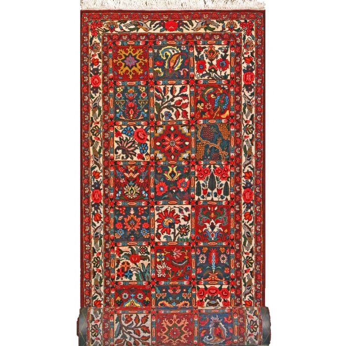 """https://www.armanrugs.com/   3' 3"""" x 12' 6"""" Red Bakhtiari Hand Knotted Wool Authentic Runner Persian Rug"""