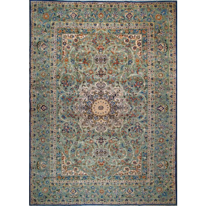 """https://www.armanrugs.com/   11' 8"""" x 16' 9"""" Green Kashan Hand Knotted Wool Authentic Persian Rug"""