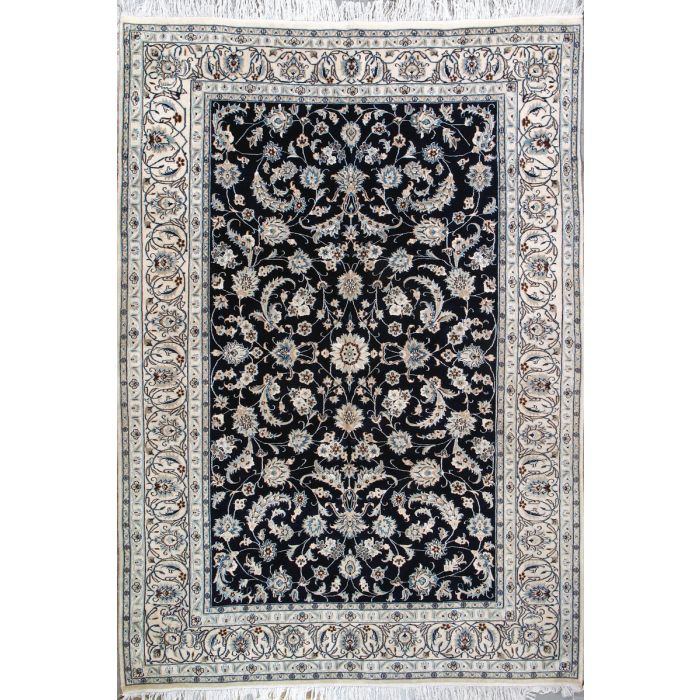 "https://www.armanrugs.com/ | 6' 7"" x 9' 6"" Navy Blue Nain Hand Knotted Wool & Silk Authentic Persian Rug"