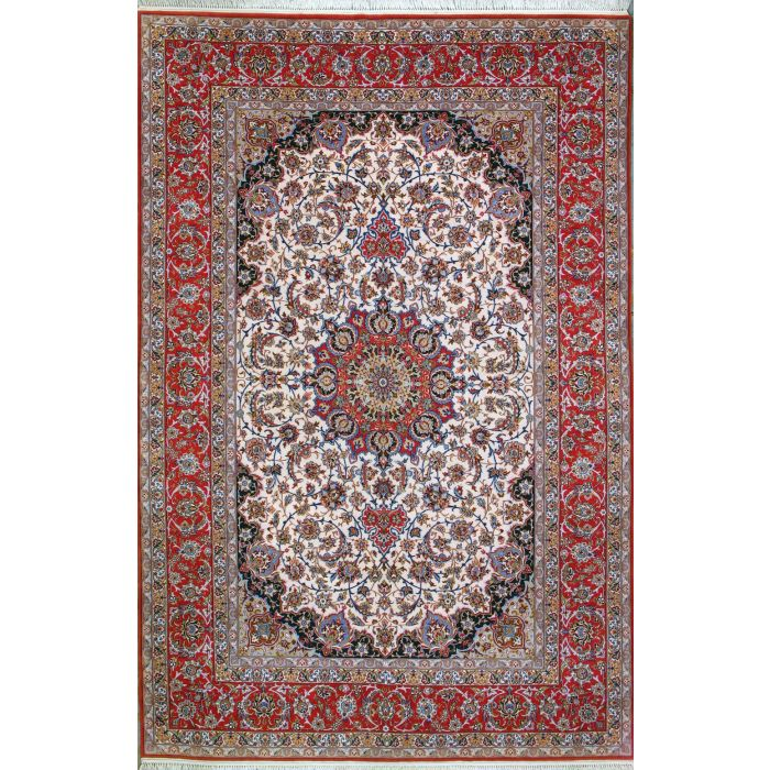 """https://www.armanrugs.com/   6' 7"""" x 10' 4"""" Ivory Esfahan Hand Knotted Wool & Silk Authentic Persian Rug"""