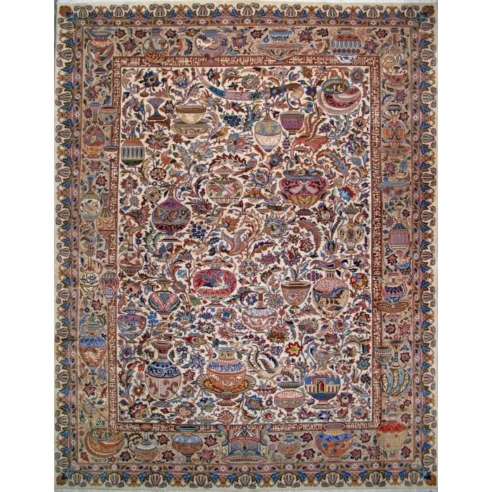"""https://www.armanrugs.com/   9' 10"""" x 13' 1"""" Beige kashmar Hand Knotted Wool Authentic Persian Rug"""