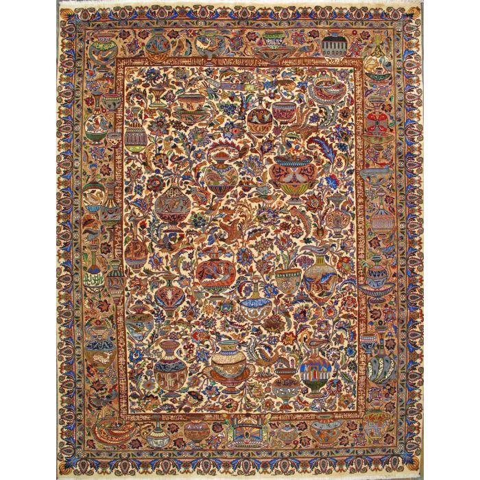 """https://www.armanrugs.com/   9' 9"""" x 12' 11"""" Beige kashmar Hand Knotted Wool Authentic Persian Rug"""