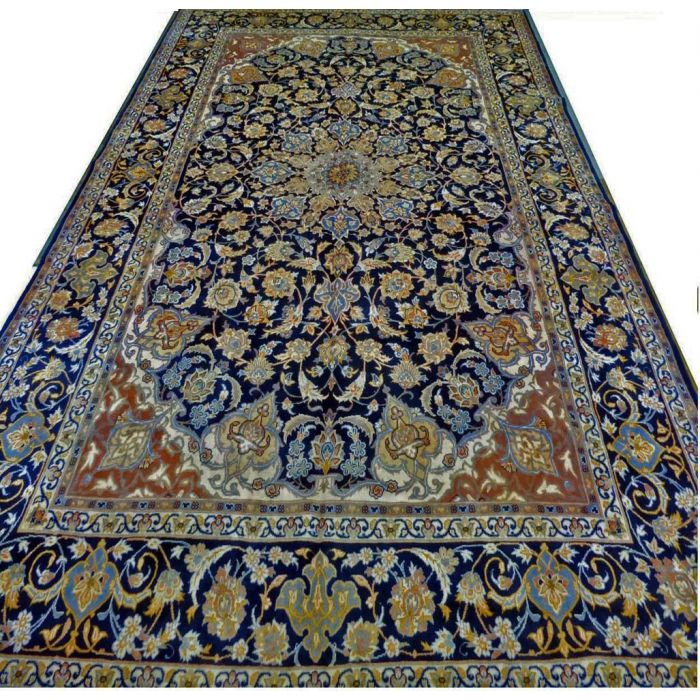 "https://www.armanrugs.com/ | 9' 10"" x 13' 1"" Navy Blue Esfahan Hand Knotted Wool Authentic Persian Rug"