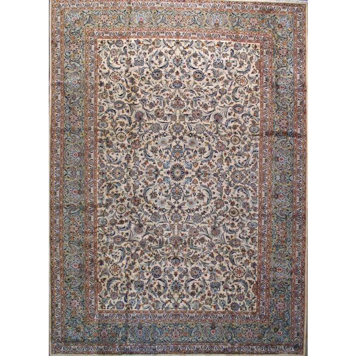"""https://www.armanrugs.com/   9' 10"""" x 13' 5"""" Beige Kashan Hand Knotted Wool Authentic Persian Rug"""