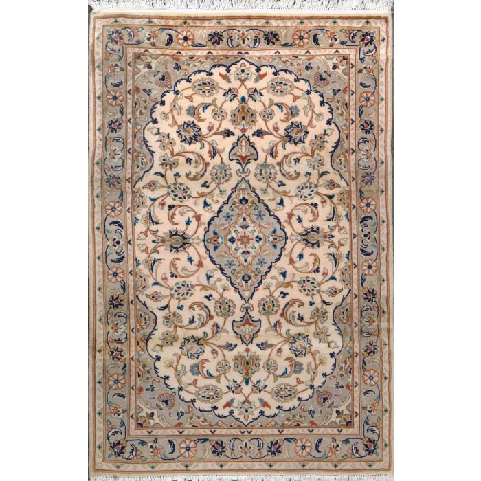 """https://www.armanrugs.com/   3' 4"""" x 5' 0"""" Beige Tabriz Hand Knotted Wool Authentic Persian Rug"""
