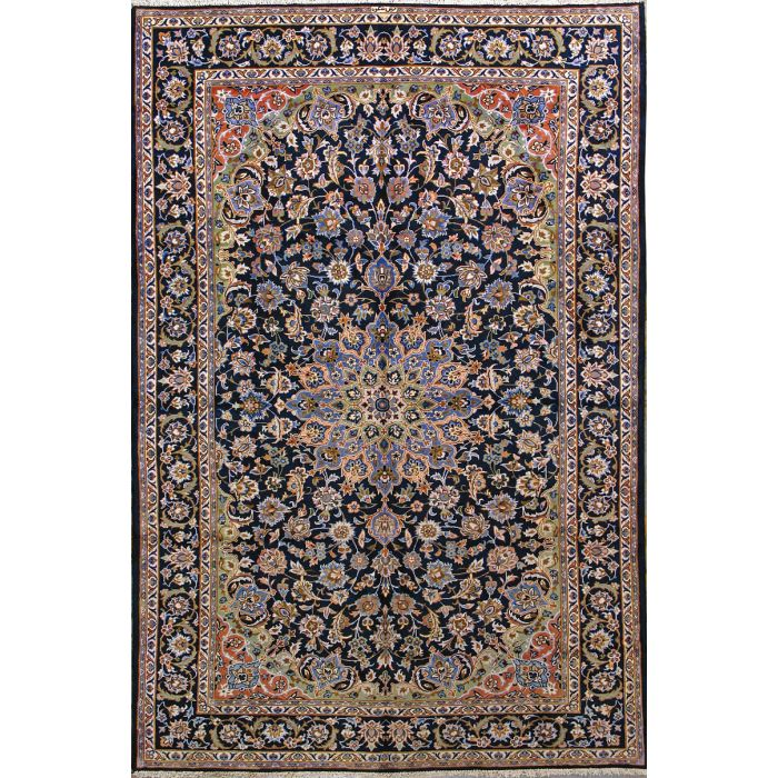 """https://www.armanrugs.com/   6' 11"""" x 10' 8"""" Navy Blue Esfahan Hand Knotted Wool Authentic Persian Rug"""