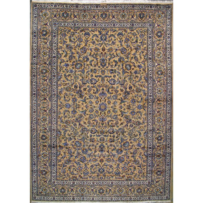 """https://www.armanrugs.com/   9' 1"""" x 12' 11"""" Brown Kashan Hand Knotted Wool Authentic Persian Rug"""
