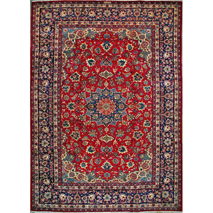"""https://www.armanrugs.com/   10' 4"""" x 14' 7"""" Red Esfahan Hand Knotted Wool Authentic Persian Rug"""