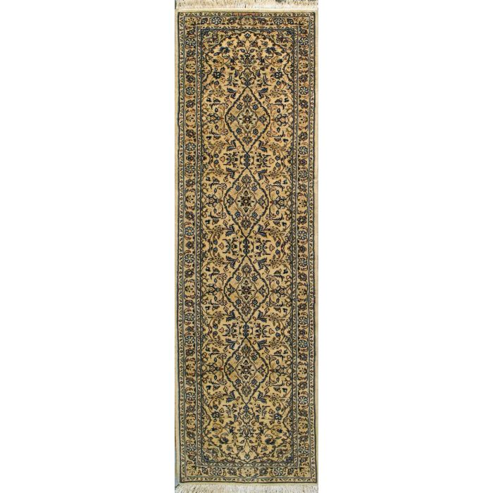 "https://www.armanrugs.com/ | 2' 8"" x 9' 6"" Beige Kashan Hand Knotted Wool Authentic Persian Rug"