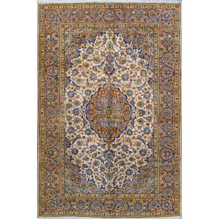 """https://www.armanrugs.com/   6' 9"""" x 10' 4"""" Beige Kashan Hand Knotted Wool Authentic Persian Rug"""