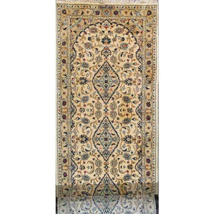 "https://www.armanrugs.com/ | 3' 5"" x 18' 8"" Beige Kashan Hand Knotted Wool Authentic Persian Rug"