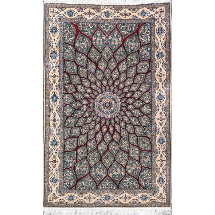 "https://www.armanrugs.com/ | 4' 2"" x 6' 9"" Red Nain Hand Knotted Wool & Silk Authentic Persian Rug"