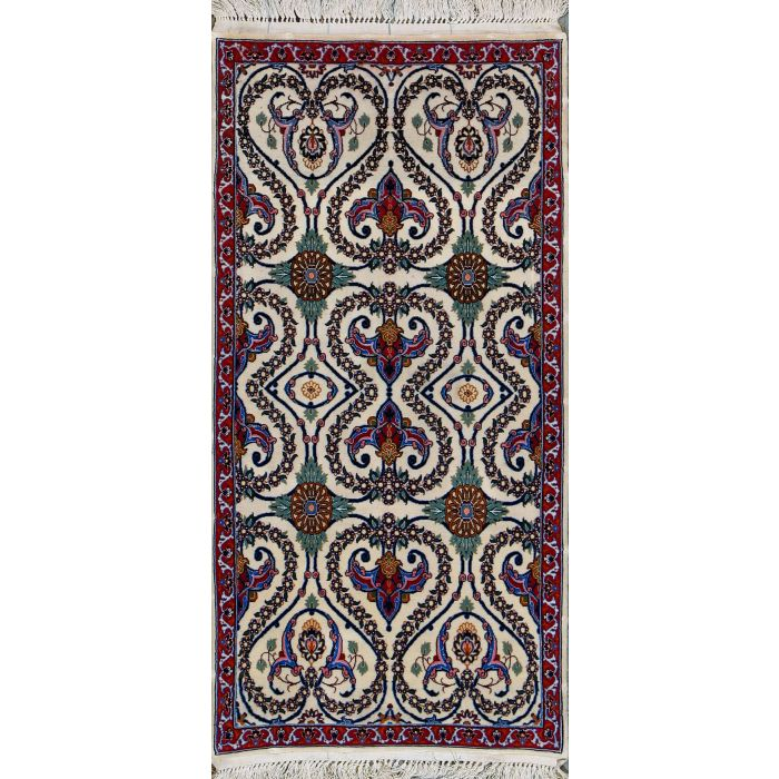 https://www.armanrugs.com/ | 2' x 4'  Ivory Esfahan Hand Knotted Wool & Silk Authentic Persian Rug