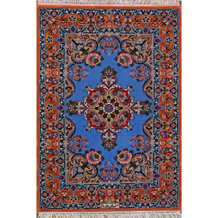 "https://www.armanrugs.com/ | 2' 5"" X 3' 5"" Blue Esfahan Hand Knotted Wool & Silk Authentic Persian Rug"