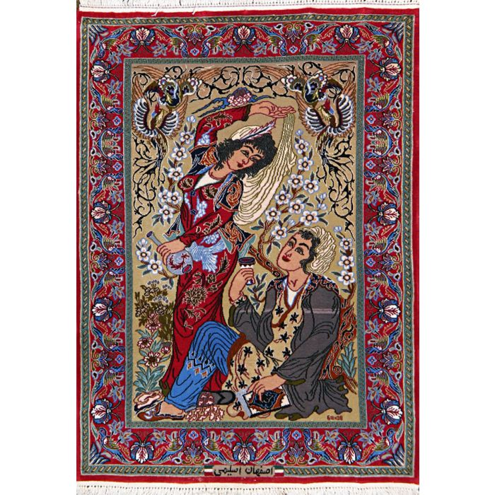 "https://www.armanrugs.com/ | 2' 3"" x 3' 2"" Red Esfahan Hand Knotted Wool & Silk Authentic Persian Rug"