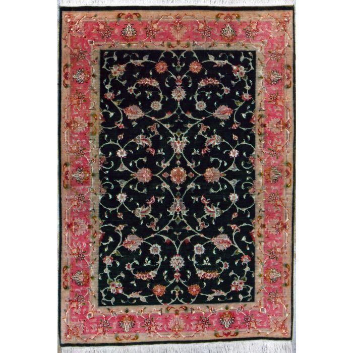 "https://www.armanrugs.com/   3' 3"" x 4' 8"" Black Tabriz Hand Knotted Wool & Silk Authentic Persian Rug"