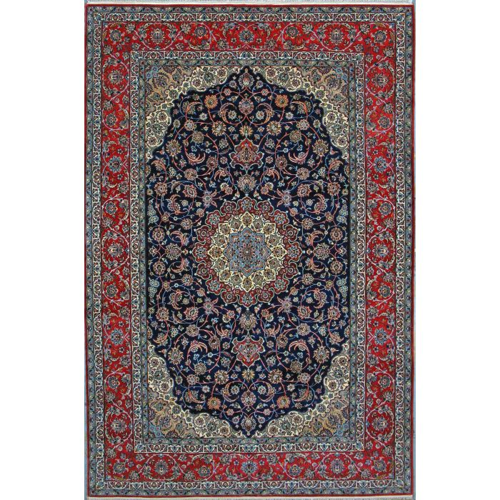 "https://www.armanrugs.com/ | 6' 9"" x 10' 0"" Navy Blue Esfahan Hand Knotted Wool & Silk Authentic Persian Rug"