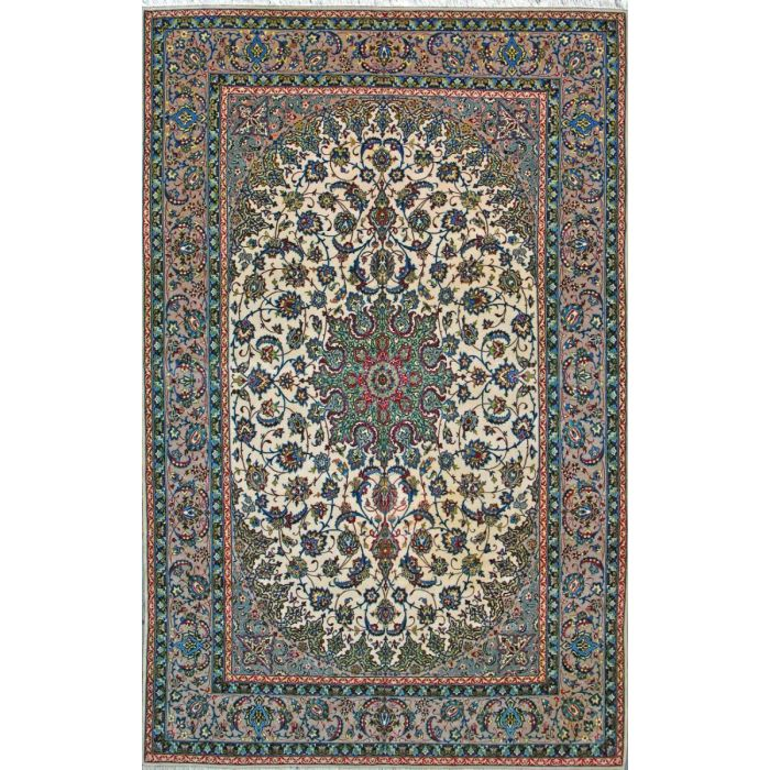 "https://www.armanrugs.com/ | 6' 7"" x 10' 2"" Beige Esfahan Hand Knotted Wool & Silk Authentic Persian Rug"