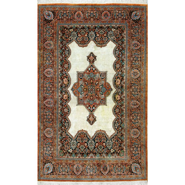 "https://www.armanrugs.com/ | 4' 2"" x 6' 7"" Beige Qum Hand Knotted Silk Authentic Persian Rug"