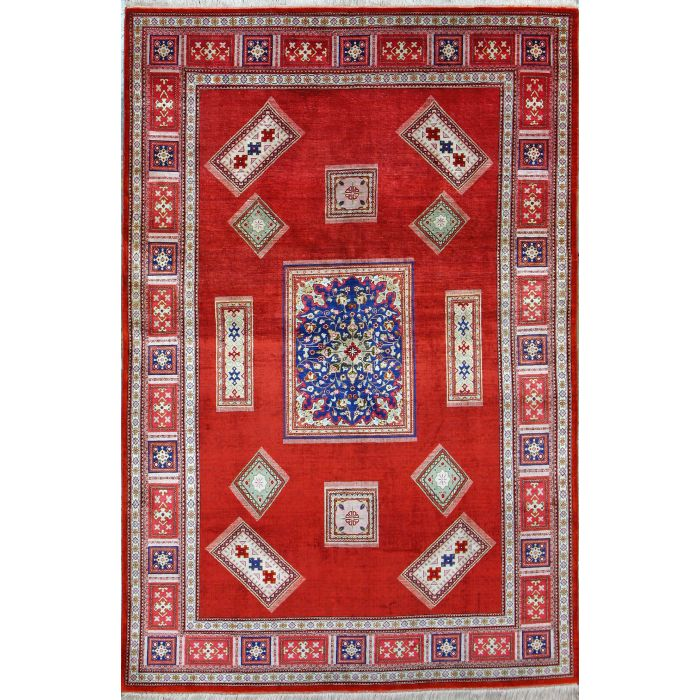 "https://www.armanrugs.com/ | 4' 5"" x 6' 7"" Red Qum Hand Knotted Silk Authentic Persian Rug"