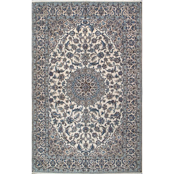 "https://www.armanrugs.com/ | 6' 7"" x 9' 10"" Beige Nain Hand Knotted Wool & Silk Authentic Persian Rug"